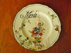 Merde hand painted vintage china bread and by trixiedelicious