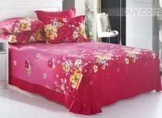 Elegant Rose-red Cotton Sheet with Yellow Printing