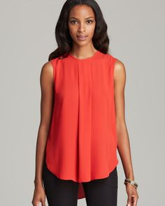 Vince Camuto Rouge Center Pleat Sleeveless Blouse