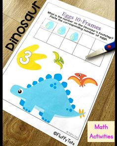 NO-PREP Dinosaur Math printables for preschool and kindergarten kids. Jam-packed with adorable Dinosaurs cut & paste activities and 10-frames counting, your Dinosaur obsessed kids will definitely love this pack. Perfect for independent activity. Dinosaur Printables, Dinosaur Activities, Counting Activities, Math Games, Learning Numbers Preschool, Preschool Centers, Subtraction Activities, Dinosaurs, Homeschooling