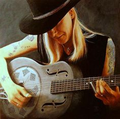Johnny Winter - painted by Theo Reijnders