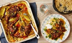 Thomasina Mier's Moroccan chicken tray bake with turmeric, apricots, honey and pistachio. Tray Bake Recipes, Easy Baking Recipes, Cooking Recipes, Healthy Recipes, Savoury Recipes, Healthy Eats, Tripe Recipes, Chicken Recipes, Sage And Onion Stuffing