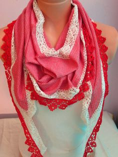 Squared Pattern Scarf With Red and White Lace,Elegance Scarf,Women Scarf,Scarves,Scarf