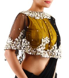 Black Pleated Silk & Chiffon Saree With Blouse And Cape Blouse Designs, Lace Tops, Lace Peplum Tops
