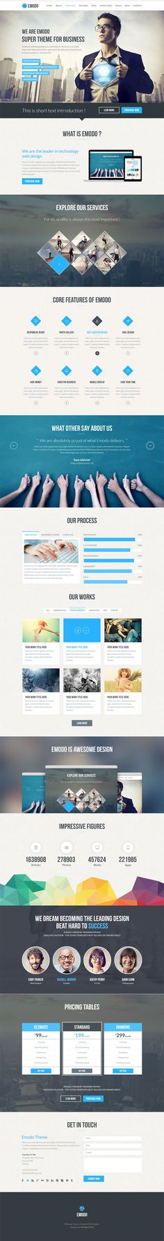 One Page Business PSD Template Emodo Preview