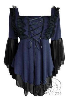 Dare To Wear Victorian Gothic Women's Fairy Tale Corset Top Midnight