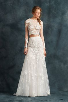 Two-piece dress with tulle embroidered with flowers - Atelier Eme 2017 Wedding Dresses   fabmood.com #weddingdress #ateliereme #bridal #bride #weddingdresses2017
