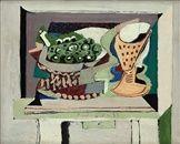 Pohár a podnos s vinným hroznem na stole by Emil Filla