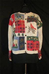 Ugly Tacky Gaudy Christmas Holiday Party Sweater Reindeer Button 3D Cardigan XL | eBay