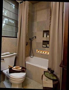 Using Curtain Panels To Flank My Tub As Well Give Illusion Of Higher Ceilings And Larger Bathroom