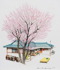 (Korea) A disappearing small store with cherry tree in a rural, 2015 by Lee Me Kyeoung ). ink on paper with a pen use the acrylic. Watercolor Architecture, Watercolor Landscape, Landscape Paintings, Watercolor Art, Landscape Art, Illustrations, Illustration Art, Picasso Art, Korean Art