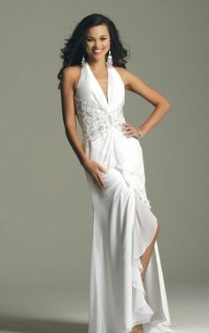 White prom pageant winterball casual wedding evening gown dress halter sz6 NWT