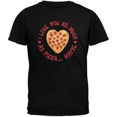I Love You As Much As Pizza Black Youth T-Shirt