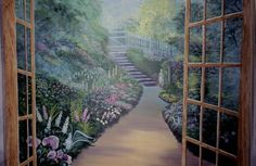 Garden Mural, Trompe l'oeil, artwork, painting on wall, by Louise Moorman