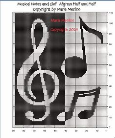 Color Charts and Tapestry by Maria Merlino: Musical Notes and Clef Afghan with Variations Chart