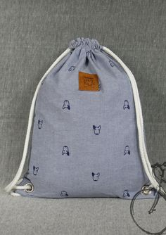 20% off [orig. 14.99] Dog drawstring bag Canvas Cotton  Backpack Hip bag Laptop bag Handmade bag