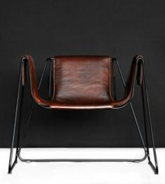 Stefania Andorlini; Varnished Steel and vegatal Leather 'Qui' Armchair for TF-Polstermöbel, 2008.