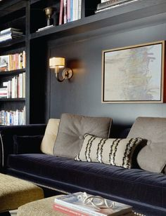 Dark built-ins, maps, gold, navy... | Things That Sparkle