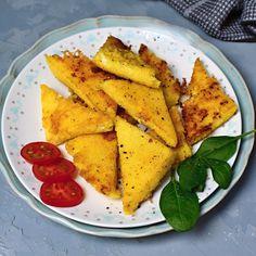 Recept na opékané placky z polenty Polenta, Sweet Potato, Potatoes, Vegetables, Ethnic Recipes, Food, Potato, Essen, Vegetable Recipes