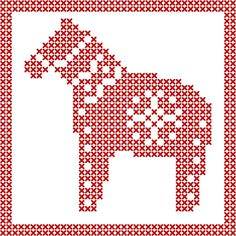 The Dala Horse, and the Abnormal Allies Grand Opening Party – F. Nordic Christmas, Handmade Christmas, Cross Stitch Charts, Cross Stitch Patterns, Grand Opening Party, Christmas Horses, Embroidery Cards, Charts And Graphs, Cross Stitch Animals