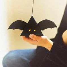 Batty Paper Lanterns are easy DIY Halloween decoration for kids to make! They even come with a free printable! | AllFreeKidsCrafts.com