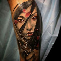 Download Free ... Asian Samurai Girl Tattoo ~ Tattoo Geek   Ideas for best tattoos to use and take to your artist.