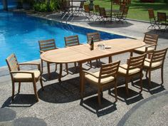 9 Pc GradeA Teak Wood Dining Set  Large 117 Oval Table And 8 Travota Stacking Arm Chairs WFDSTV6 -- Want to know more, click on the image.(This is an Amazon affiliate link)