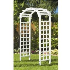 White Arch 84 x 48 in. Outside Wooden Garden Arbor, MFS35W at The Home Depot