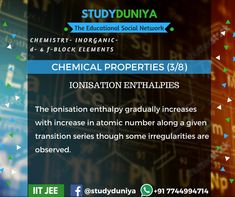 Chemical Properties (3/8), D and F block, Chemistry, Technology,Exam preparation, Science,NEET, study materials for IIT JEE 2018. Learn more at studyduniya.com