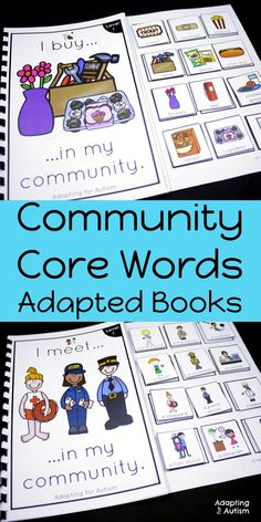 These adapted books are perfect to practice community core words with your special educations students or in speech therapy.  Add these life skills adapted books to your independent work stations or small groups to practice identifying community people, p