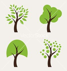 Set of tree icons vector 2075732 - by yod67 on VectorStock®