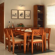 bb80294d0 Buy Cambrey 6 Seater Cushioned Dining Set (Honey Finish) Online in India -  Wooden Street