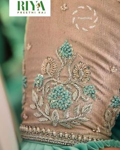 Best 12 Beautiful French knots and Zardozi Handwork on front Fine pintucks detail on one side at front A-line relaxed fit with elbow length sleeves – SkillOfKing. Zardosi Embroidery, Hand Embroidery Dress, Kurti Embroidery Design, Couture Embroidery, Embroidery Suits, Embroidery Fashion, Hand Embroidery Designs, Beaded Embroidery, Blouse Designs Silk