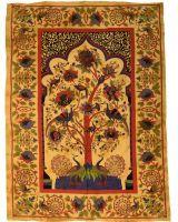 Große Tagesdecke mit wunderschönem Lebensbaummotiv im Garten der Freuden. einer colorierten Darstellung vom indischen Lebensbaum im Garten der Freude. Hochwertig verarbeitete Baumwolle. Das Tuch...
