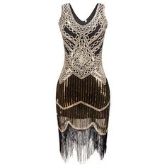 1920s Gatsby Flapper VINTAGE LOOK Sequin DRESS WITH Fringe S-XXL