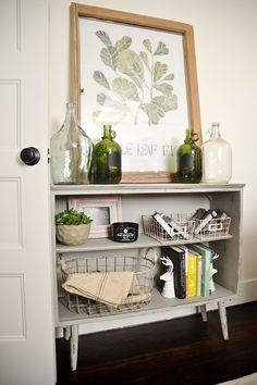 Leggy gray bookshelf