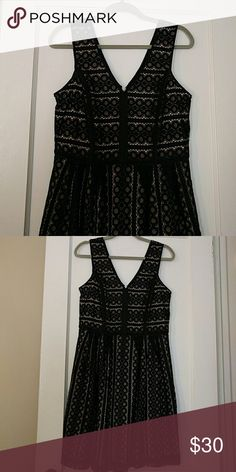Ann Taylor LOFT black lace dress Excellent condition! Nude lining with patterned overlay. Flattering v front and back. LOFT Dresses