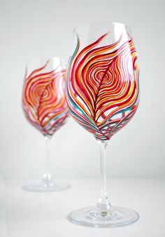 Neon Peacock Feather Wine Glasses  by MaryElizabethArts.com