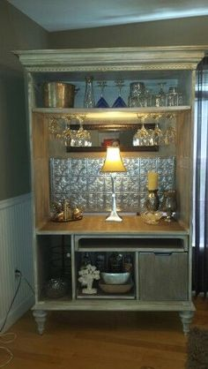 repurposed TV armoire now a bar. Bar Furniture, Refurbished Furniture, Repurposed Furniture, Furniture Projects, Furniture Makeover, Home Projects, Painted Furniture, Office Furniture, Armoire Bar