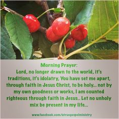 Morning Prayer: Lord, no longer drawn to the world, it's traditions, it's idolatry, You have set me apart, through faith in Jesus Christ, to be holy... not by my own goodness or works, I am counted righteous through faith in Jesus.. Let no unholy mix be present in my life... #morningprayer #instaquote #quote #seekgod #godsword #godislove #gospel #jesus #jesussaves #teamjesus #LHBK #youthministry #preach #testify #pray #rollin4Christ #sin #repent #traditions #idolatry #worldliness