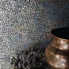 An all-over semi-plain wallpaper showing an intricate design of small mosaic pieces, perfect to add depth and texture and a luxurious feel to your walls. Buy from our shops or online Plain Wallpaper, Metallic Wallpaper, Feature Wallpaper, Wallpaper Online, Home Wallpaper, Wallpaper Panels, Little Jane, Osborne And Little, Mosaic Pieces
