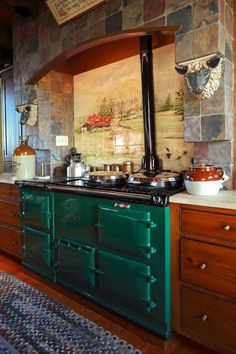 Stove I want, called Aga Oven. Aga range oven in green with tile scene and stone arach Decor, Farmhouse Kitchen Decor, Vintage Stoves, Home Decor Kitchen, Kitchen Decor, Home, Aga Kitchen, Home Kitchens, Kitchen Design Decor