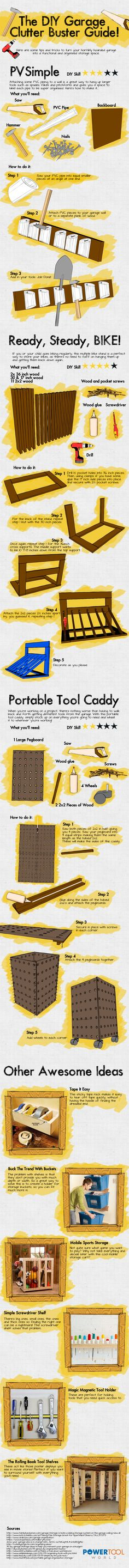 The DIY Garage Clutter Buster Guide #Infographic #DoItYourself