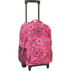 Backpacks For School and Travel - Rockland Luggage 17 Inch Rolling Backpack - 100% polyester.  Front pocket with organizer and double wheels.  #kidsbackpack