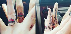 Pokemon tattoo pokeball geek nerd engagement finger knuckle tattoos
