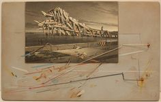 Lebbeus Woods, Wave House 1995, Graphite, prismacolor pencil drawing mounted on wood panel with wire and wood attachments