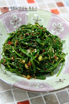 Vegetable Seasoning, Seaweed Salad, Food Plating, Green Beans, Pork, Vegetables, Ethnic Recipes, Wraps, Food Food