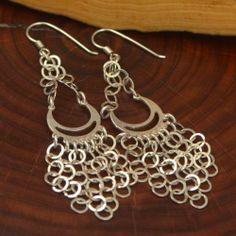 Intertwined Chandelier Dangle Earrings #Vintage #Sterling #Silver - #Intertwined #Rings #Cluster 9g - #Dangle #Earrings DQ767