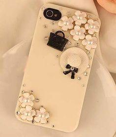 fashion handbag and straw hat deco kit diy phone case diy deco kit iphone case…