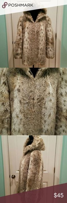 """VINTAGE JORDACHE FAUX FUR LYNX JACKET Love this jacket but I need to let some good. Great vintage condition, no flaws. Love the great big hood when it is cold out. Bust is 46"""", length is 30"""". Fits like an extra large. Vintage Jordache  Jackets & Coats"""